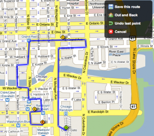 Walk Jog Run routes overlayed on a Google Map.